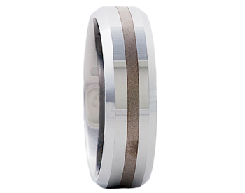 GENTLEMAN'S 7MM BEVELED EDGE AND SATIN LINE CENTER TUNGSTEN BAND