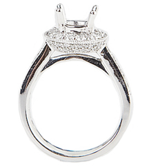 18K WHITE GOLD ROUND TOP MILLEGRAIN AND PAVE DIAMOND SEMI MOUNTING