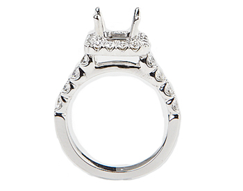 14K WHITE GOLD SHARED PRONG CUSHION TOP SEMI MOUNTING
