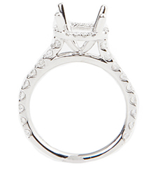 18K WHITE GOLD ROUND TOP PAVE AND PRONG SET SEMI MOUNTING