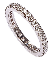 14K WHITE GOLD MACHINE SET ROUND DIAMOND ETERNITY BAND