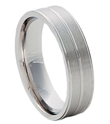 6MM 3LINE WHITE GOLD BAND