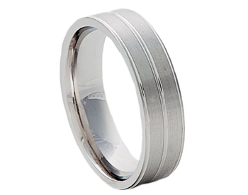 GENTLEMAN'S 14K WHITE GOLD 6MM TRIPLE LINE BAND