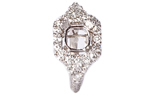 18K WHITE GOLD CUSHION TOP 3-SIDED PAVE AND PRONG SET CLUSTER SEMI MOUNTING