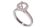 18K WHITE GOLD ROUND HALO PAVE DIAMOND SEMI MOUNTING