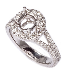 18K WHITE GOLD ROUND TOP AND ROUND DIAMOND SEMI MOUNTING