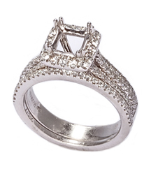 18K WHITE GOLD 3-ROW SQUARE TOP PAVE CATHEDRAL SEMI MOUNTING
