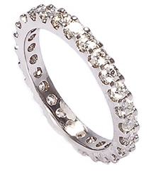 14K WHITE GOLD ROUND PRONG SET DIAMOND ETERNITY BAND