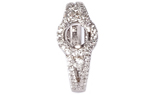 18K WHITE GOLD PAVE AND ROUND DIAMOND PRONG SET SEMI MOUNTING