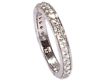14K WHITE GOLD MILLEGRAIN AND ROUND DIAMOND BAND
