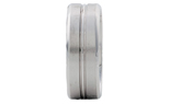 GENTLEMAN'S 14K WHITE GOLD 8MM SATIN AND POLISHED NARROW GROOVED CENTER AND EDGE BAND