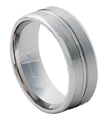 8MM WHITE GOLD GROOVED BAND