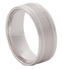 GENTLEMAN'S 14K WHITE GOLD 8MM SATIN CENTER AND ROPE STRIPED EDGE BAND