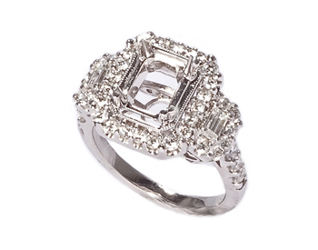 18K WHITE GOLD MILLEGRAIN 3-STONE PAVE AND PRONG SET SEMI MOUNTING