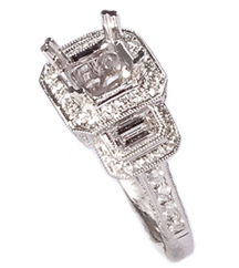 18K WHITE GOLD FILIGREE MILLEGRAIN OCTAGON 3-STONE SEMI MOUNTING