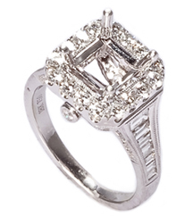 18K WHITE GOLD FANCY MILLEGRAIN DESIGN BAGUETTE AND ROUND DIAMOND SEMI-MOUNTING