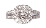 18K WHITE GOLD ROUND TOP PRONG AND PAVE SET SEMI MOUNTING