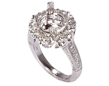 14K WHITE GOLD 3-SIDED MILLEGRAIN ROUND TOP PAVE DIAMOND SEMI MOUNTING