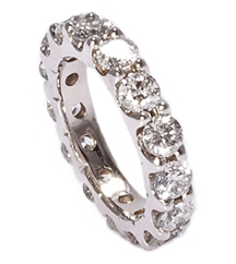14K WHITE GOLD ROUND DIAMOND AND SHARED PRONG ETERNITY BAND
