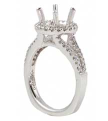 14K WHITE GOLD 4-PRONG ROUND TOP SPLIT SHANK DIAMOND SEMI-MOUNTING