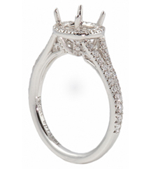 18K WHITE GOLD PAVE ROUND HALO SPLIT SHANK SEMI MOUNTING
