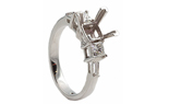14K WHITE GOLD PRINCESS AND BAGUETTE DIAMOND SEMI MOUNTING