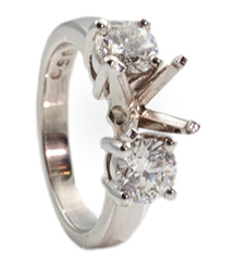 14K WHITE GOLD 3 STONE DESIGN SEMI MOUNTING