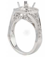 18K WHITE GOLD PAVE DIAMOND CUSHION TOP SEMI MOUNTING