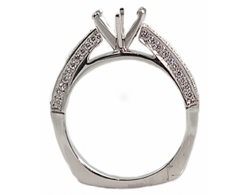 14K WHITE GOLD 6-PRONG CATHEDRAL EURO SHANK SEMI-MOUNTING