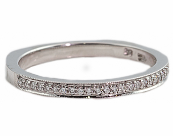 14K WHITE GOLD ROUND BEAD SET DIAMOND BAND