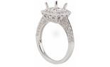 18K WHITE GOLD 3-SIDED PAVE SQUARE TOP SEMI MOUNTING