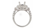 18K WHITE GOLD BAGUETTE AND ROUND DIAMOND CUSHION TOP SEMI MOUNTING