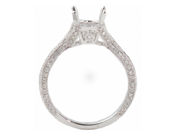 18K WHITE GOLD 2 ROW PAVE DIAMOND SEMI MOUNTING