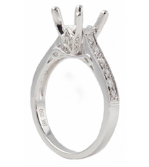 18K WHITE GOLD  CATHEDRAL DIAMOND SEMI MOUNTING