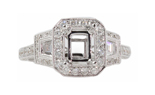 18K WHITE GOLD 3 STONE DESIGN ANTIQUE SEMI MOUNTING