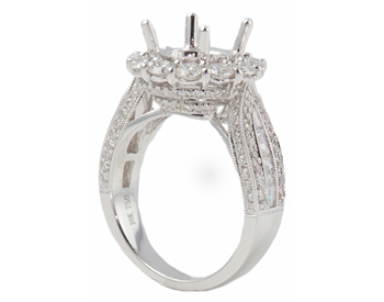 18K WHITE GOLD ROUND HALO BAGUETTE SHANK SEMI MOUNTING