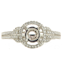 18K WHITE GOLD DOUBLE PAVE DIAMOND HALO SEMI MOUNTING