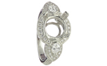 18K WHITE GOLD ROUND AND PEAR SHAPED DIAMOND MOUNTING