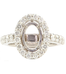 14K WHITE GOLD SHARED PRONG OVAL HALO SEMI MOUNTING