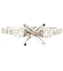 14K WHITE GOLD 4-PRONG 3 STONE STYLE SEMI-MOUNTING