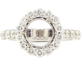 14K WHITE GOLD ROUND HALO SEMI MOUNTING