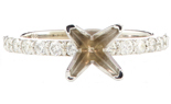 14K WHITE GOLD 4-PRONG ROUND DIAMOND SEMI-MOUNTING