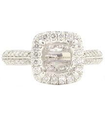 14K WHITE GOLD DIAMOND MILLEGRAIN FILIGREE SEMI MOUNTING