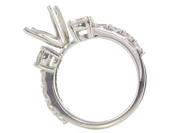 14K WHITE GOLD 3-STONE DESIGN SEMI MOUNTING