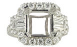18K WHITE GOLD MILLEGRAIN FILIGREE CUSHION TOP SEMI MOUNTING