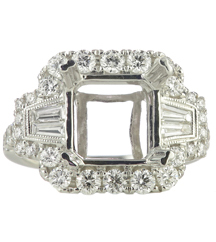18K WHITE GOLD MILGRAIN FILIGREE CUSHION TOP RING