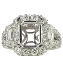 18K WHITE GOLD MILGRAIN FANCY RING