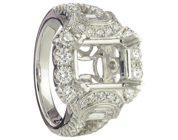 18K WHITE GOLD MILGRAIN RADIANT HALO SEMI MOUNTING