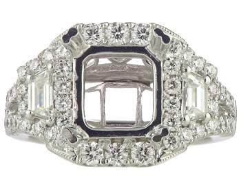 14K WHITE GOLD RADIANT TOP AND CUT TRAPEZOID SIDE DIAMOND SEMI MOUNTING