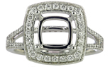 14K WHITE GOLD MILLEGRAIN AND PAVE DIAMOND CUSHION SEMI MOUNTING